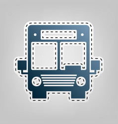 bus sign blue icon with vector image
