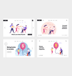 Business idea project and inflation landing page vector