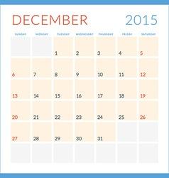 Calendar 2015 flat design template Deceber Week vector