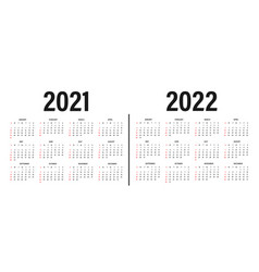 Calendar 2021 and 2022 template layout vector