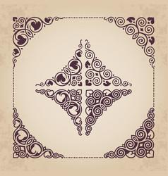 calligraphic ornamental corners vector image