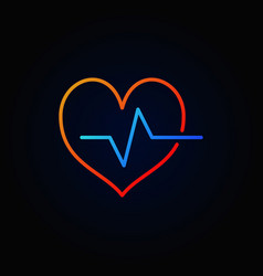 Cardiac cycle colored outline icon bright vector