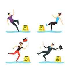 cartoon caution wet floor with people characters vector image