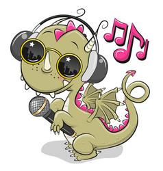 Cartoon dragon with sun glasses headphones and vector