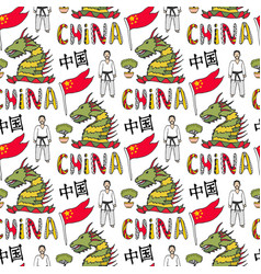 china flag karate master and dragon chinese vector image