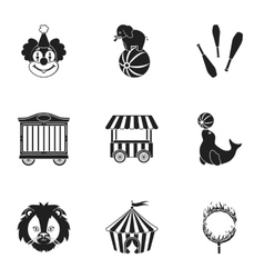 Circus set icons in black style Big collection of vector