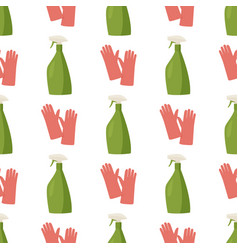 Cleaning agent spray and rubber gloves background vector