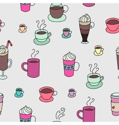 Coffee cups colorful cute seamless pattern vector image