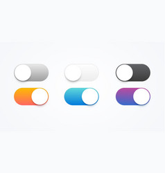 Colorful on and off toggle switch buttons vector