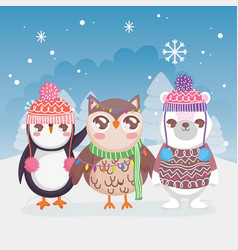 cute polar bear penguin and owl snow landscape vector image
