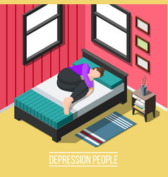 Depression people isometric background vector