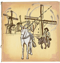 Don Quijote Quixote - An hand drawn sketch vector image