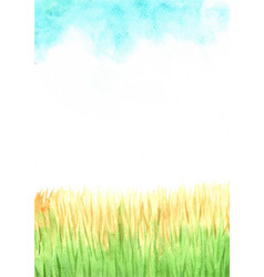 Dried grass filed with blue sky watercolor vector