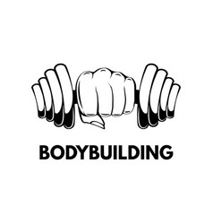 dumbbell in hand bodybuilding gym fitness vector image