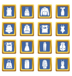 fashion clothes wear icons set blue square vector image