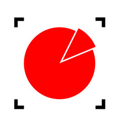 finance graph sign red icon inside black vector image