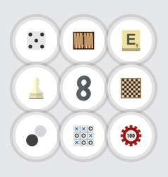 Flat icon games set of chequer poker dice and vector