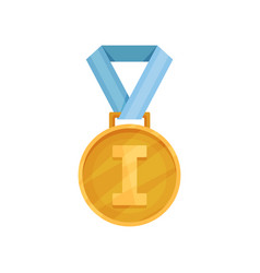 flat icon of shiny golden medal with blue vector image