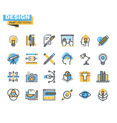 Flat line icon pack for designers and developers vector