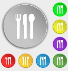 fork knife spoon icon sign Symbol on five flat vector image