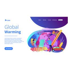 global warming landing page vector image
