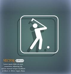 Golf icon On the blue-green abstract background vector image