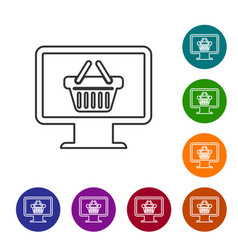 grey computer monitor with shopping basket line vector image