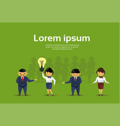 Group of asian business people with light bulb new vector
