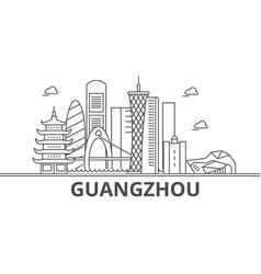 guangzhou architecture line skyline vector image