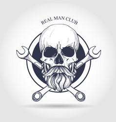 hand drawn sketch color skull vector image