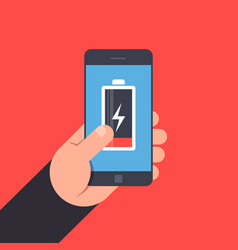 Hand holding to a smartphone low battery life of vector