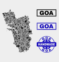 Handmade composition goa state map and vector