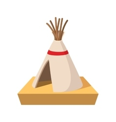 Indian tent cartoon icon vector image