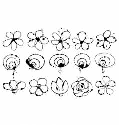 ink flowers vector image