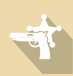 Isolated modern police icon with long shadow vector