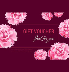 Just for you gift voucher design with pink flowers vector