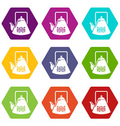 kettle icons set 9 vector image