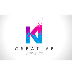 Ki k i letter logo with shattered broken blue vector