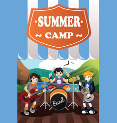 Kids in a band summer camp flyer vector