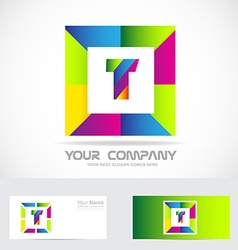Letter T square logo colors vector image