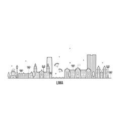 lima skyline peru city buildings linear vector image