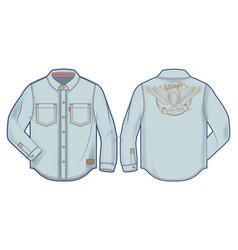 long-sleeve light blue denim shirt vector image