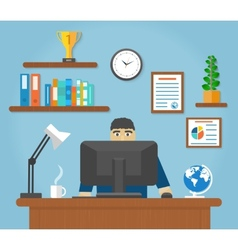 Man sitting on chair at table front of computer vector image