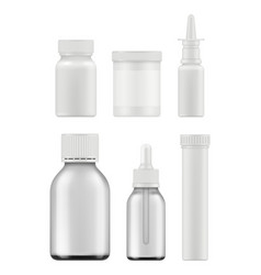 Medicine bottles mockup realistic pharmaceutical vector