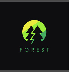 minimalist pine forest logo icon template vector image