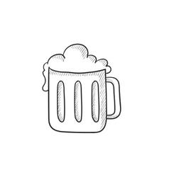 Mug of beer sketch icon vector image vector image