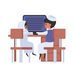 muslim school boy and girl at school flat vector image