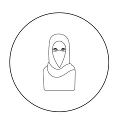 niqab icon in outline style isolated on white vector image