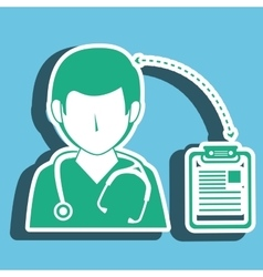 Nurse man and clinic history isolated icon design vector