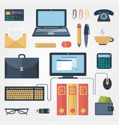 office supplies in flat style on gray background vector image